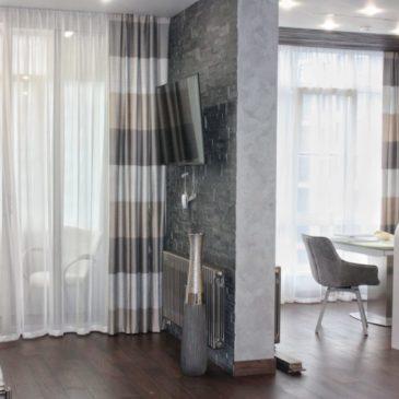 Текстильное оформление единого пространства — кухня и гостиная